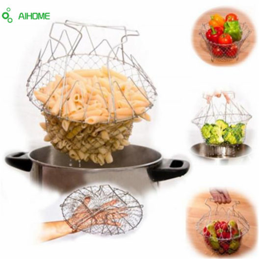 Fold able Steam Rinse Strain Fry Chef Basket Magic Basket Strainer