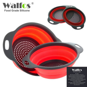 2 Pieces Collapsible Silicone Folding Kitchen Silicone Strainer