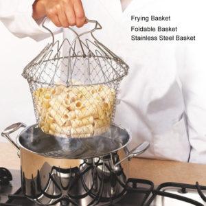 foldable fry strainer basket