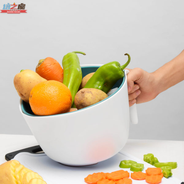 Double Layer Plastic wash rice Colander Strainer