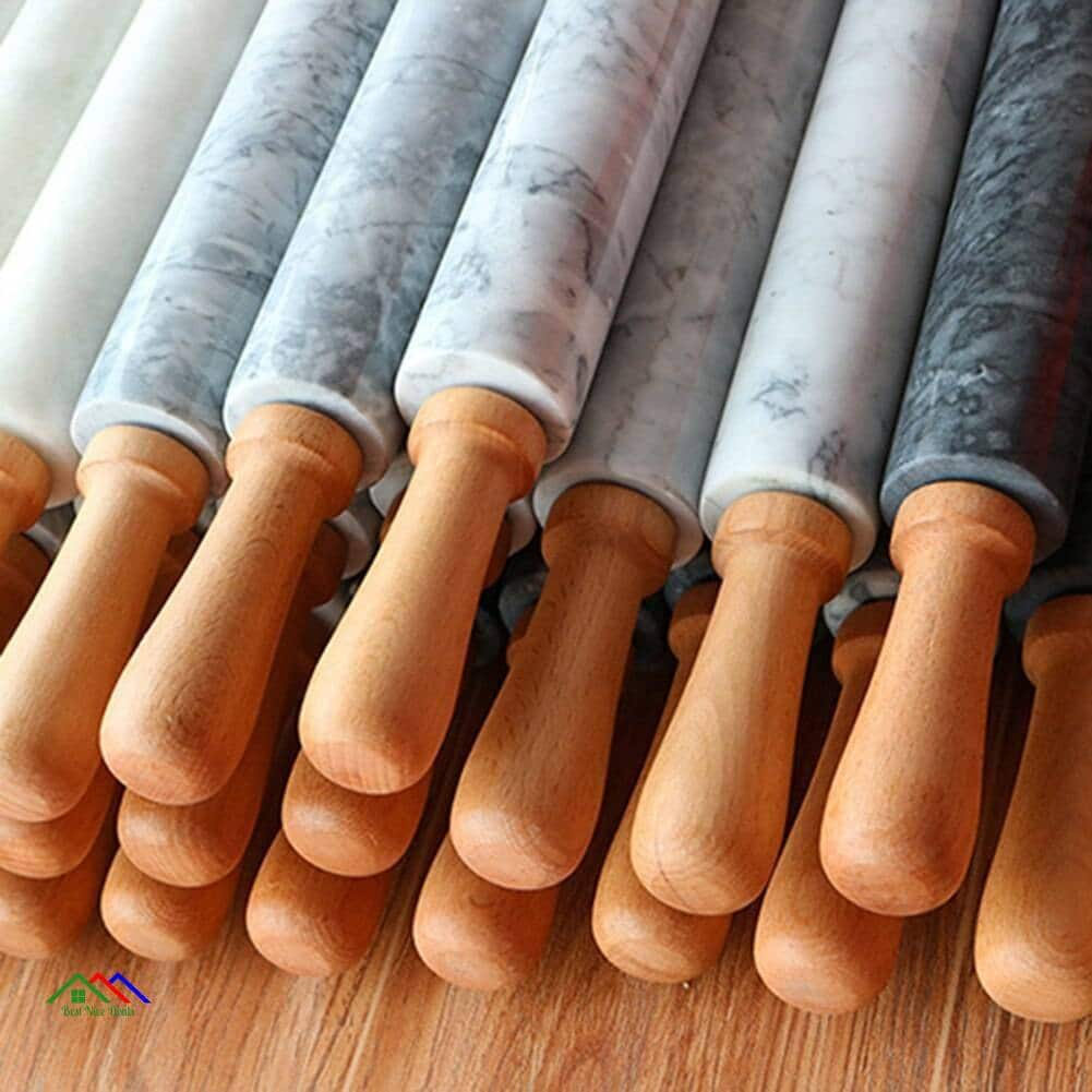 Rolling Pin With Marble Roller Solid Wood Base Kitchen Rolling Pins
