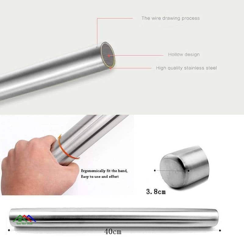 Silver Stainless Steel Rolling Pin New Arrivals Kitchen Rolling Pins
