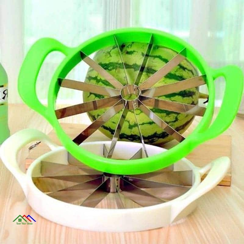 Kitchen Practical Tools Creative Watermelon Slicer Melon Cutter Knife 410 stainless steel Fruit Cutting Slicer White and Green Kitchen