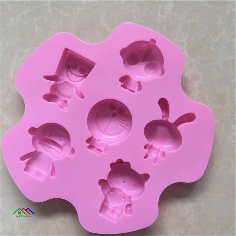 DIY 6 Even Altman cartoon Doraemon cake mold Round Muffin Sweet Candy Jelly Fondant Cake Chocolate Mold Silicone Tool Baking Pan Kitchen