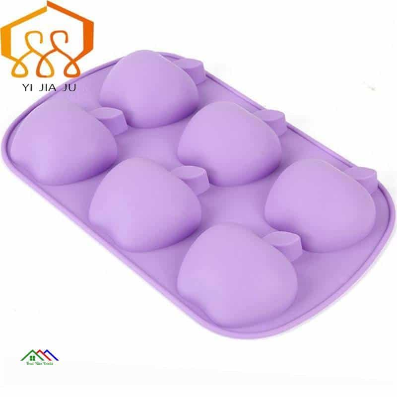 Cake Decorator Baking Tools Apple Shape Six-hole Fondant Cake Silicone Mold Candy Jelly Chocolate Mould Free Shipping Kitchen