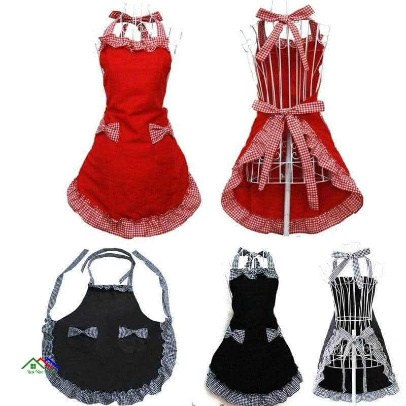 Black Red Cute Dress Cooking Apron On Sale Kitchen Aprons