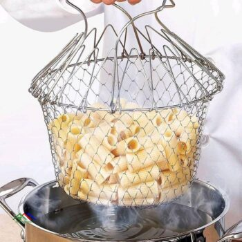 Foldable Steam Rinse Strain Stainless Steel Frying Basket Colander Sieve Mesh Strainer Kitchen Cooking Tools Accessories Cocina Kitchen Colanders