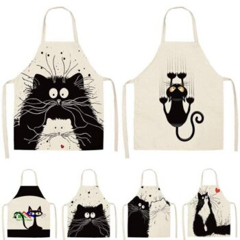 Kitchen Textile Black Cat Apron Kitchen Aprons