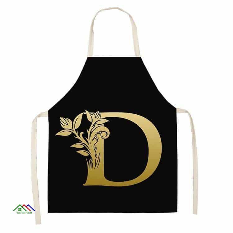 Gold Letter Alphabet Pattern Kitchen Apron Kitchen Aprons