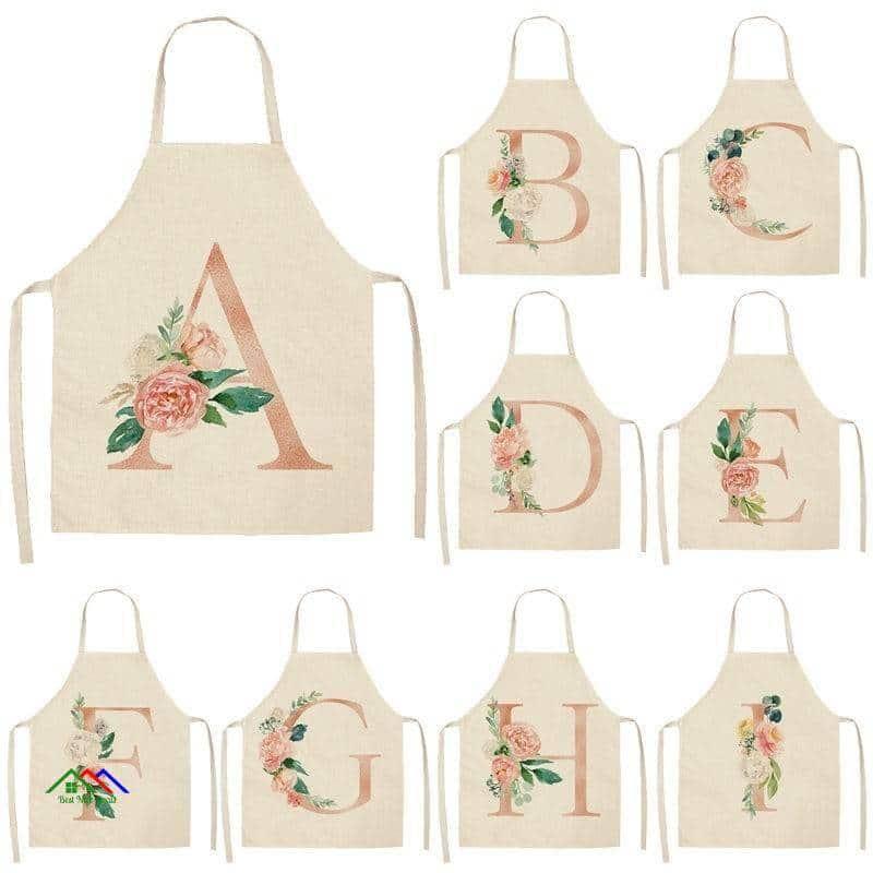 Pink Flower Alphabet Apron Kitchen Aprons