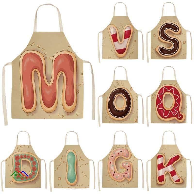 Letter Kitchen Linen Apron Kitchen Aprons
