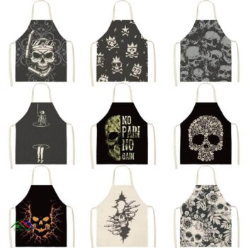 FYMX Creative Ghost Skull ApronBlack Series Aprons For Kitchen Men's Linen Sleeveless Cooking Kitchen Aprons