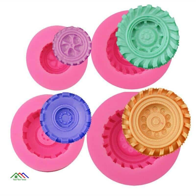 Tires Wheel Fondant Cake Mold Kitchen Silicone Molds