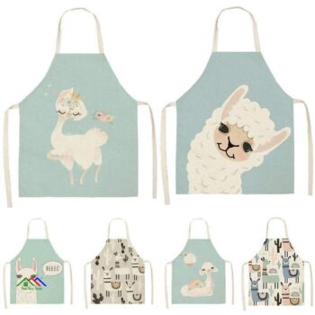Alpaca Llama Cactus Printed Sleeveless Apron Kitchen Aprons