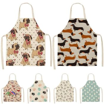 Dog Dachshund Patterned Silver Bulldog Apron On Sale Kitchen Aprons