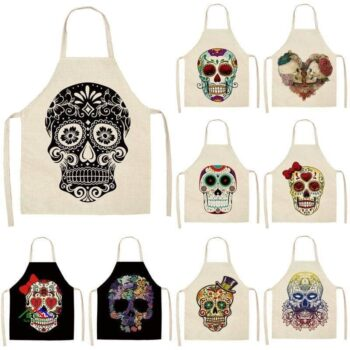 Skull Kitchen Textile Coquelicot Apron On Sale Kitchen Aprons