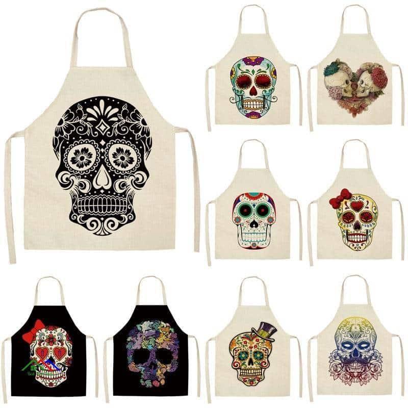 Skull Kitchen Textile Coquelicot Apron On Sale Kitchen Aprons