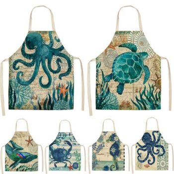 Printed Fish Turtle Kitchen Apron On Sale Kitchen Aprons