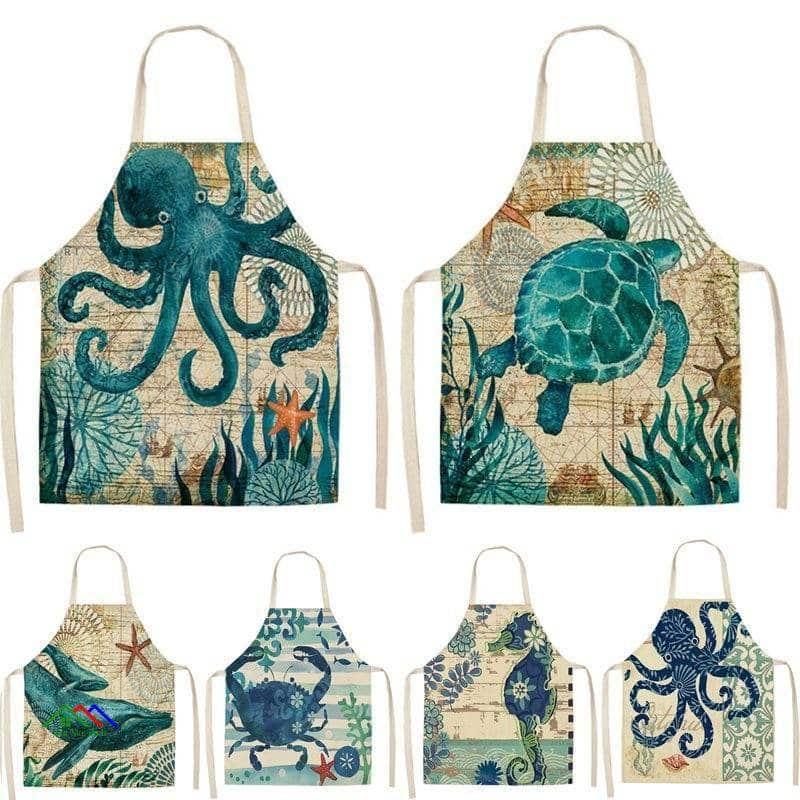 Printed Fish Turtle Kitchen Apron On Sale Kitchen Aprons