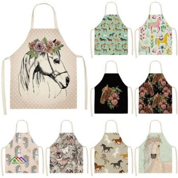 Horse Patterned Design Kitchen Apron Kitchen Aprons