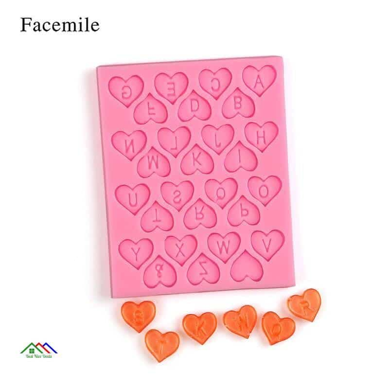 Heart Alphabet Letters Silicone Mold On Sale Kitchen Silicone Molds