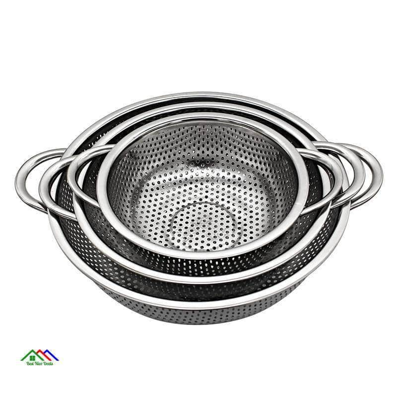 Stainless Steel Colanders 3 Pieces Set Kitchen Colanders