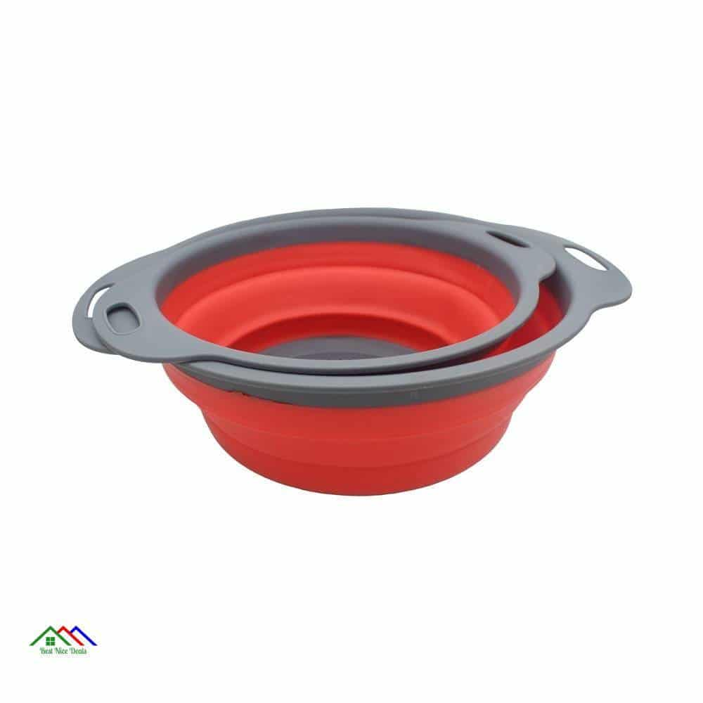 Collapsible Silicone Colanders Set Of 2 Kitchen Colanders