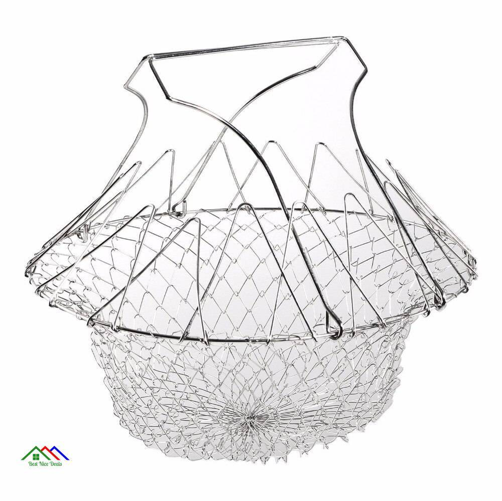 Stainless Steel Foldable Rinse Colander On Sale Kitchen Colanders