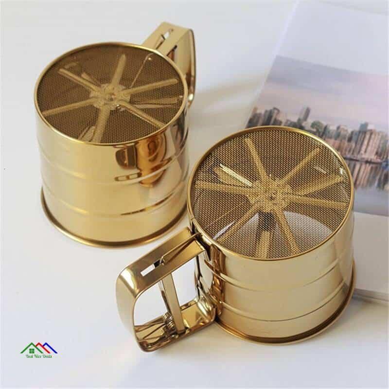 Stainless Steel Gold Silver Sieve Colander Kitchen Colanders