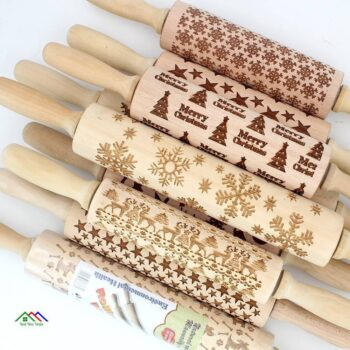 Engraved Christmas Embossing Rolling Pin Kitchen Rolling Pins