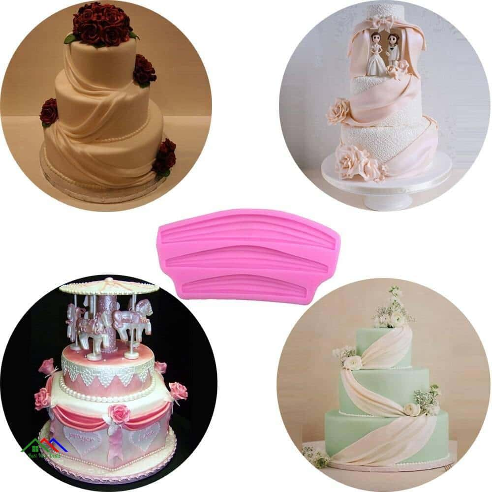 Curtain Satin Cake Decorating Silicone Mold On Sale Kitchen Silicone Molds