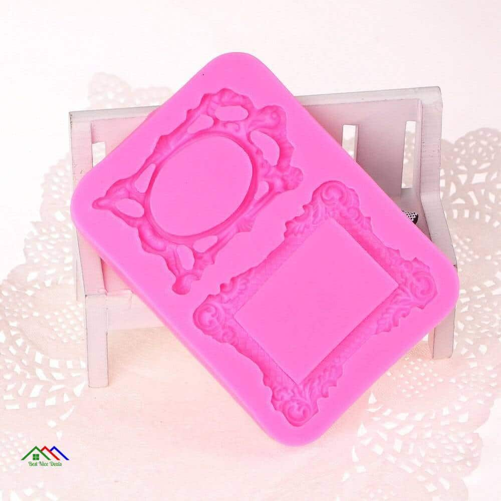 3D Retro Mirror Frame Silicone Mold On Sale Kitchen Silicone Molds