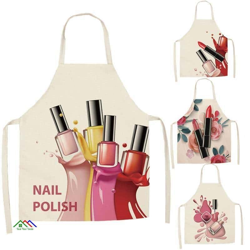 Flower Nail Polish Kitchen Apron Kitchen Aprons