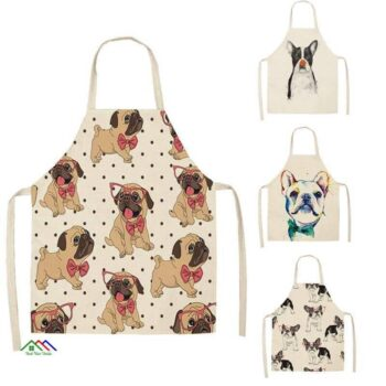 Bull Dog Print Kitchen Apron Kitchen Aprons