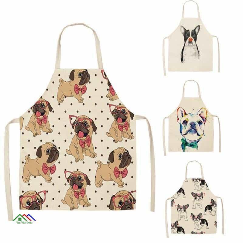 Bull Dog Print Kitchen Apron Kitchen Aprons