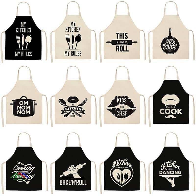 Kitchen Linen Cooking Words Apron On Sale Kitchen Aprons