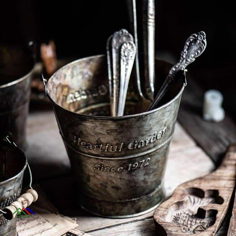 Retro English Wrought Iron Decorative Bucket On Sale Kitchen Retro Plates