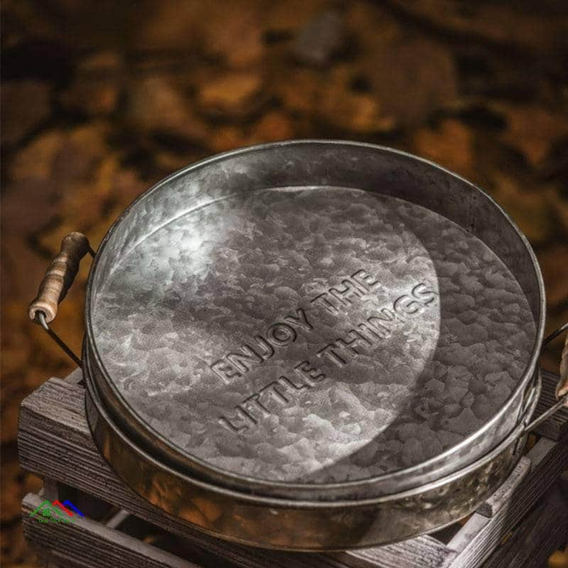 Antique Metal Serving Round Tray On Sale Kitchen Retro Plates