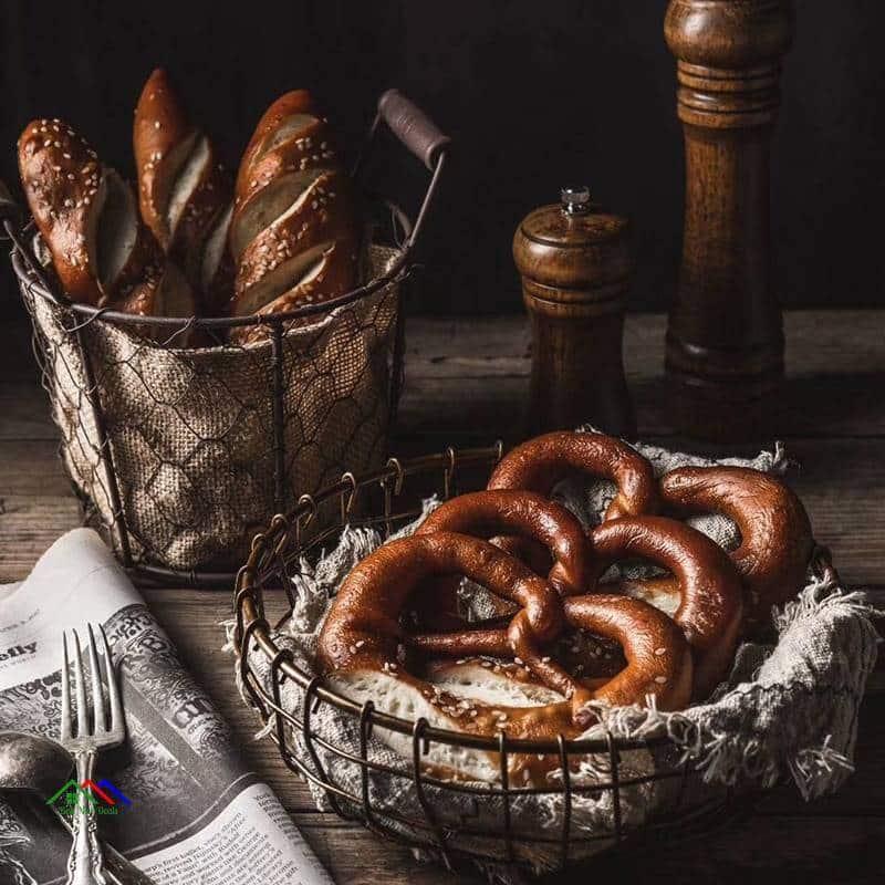 Vintage Wrought Iron Nordic Style Basket On Sale Kitchen Retro Plates