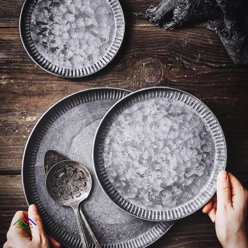 Retro Wrought Iron Round Tray On Sale Kitchen Retro Plates