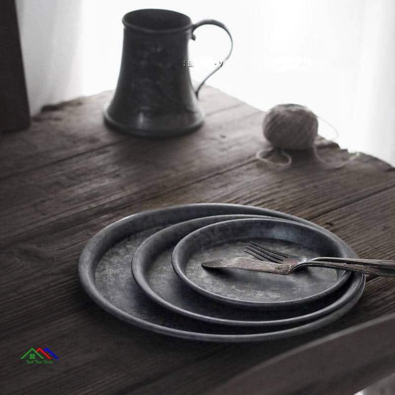 Antique Round Wrought Iron Serving Trays On Sale Kitchen Retro Plates