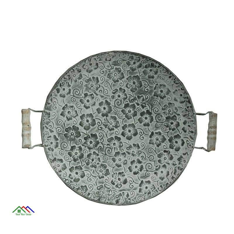 Retro Handcrafted Round Metal Plate On Sale Kitchen Retro Plates