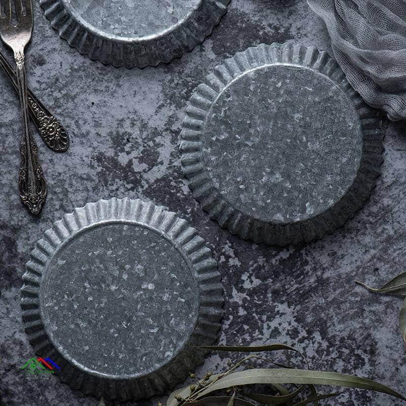 Antique Round Metal Storage Tray On Sale Kitchen Retro Plates