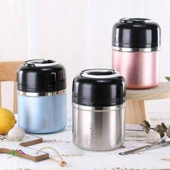 High Quality Double Stainless Steel Thermal Lunch Box Kitchen Lunch Box