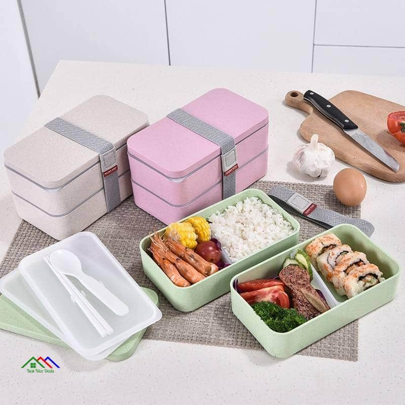 Double Layers With Spoon Lunch Box Kitchen Lunch Box