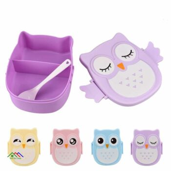 Children School Owl Cartoon Shape Lunch Box With Spoon Kitchen Lunch Box